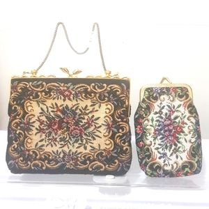 Vintage tapestry purse coin Black white floral